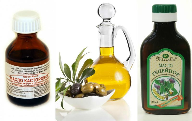 Репейное, оливковое и касторовое масла